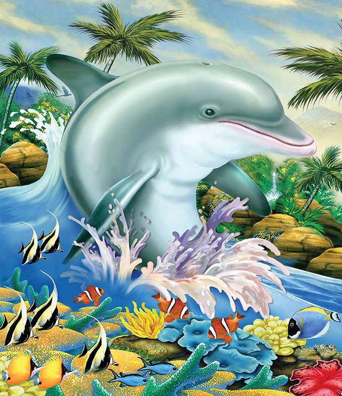 Dolphin Splash Under The Sea Jigsaw Puzzle