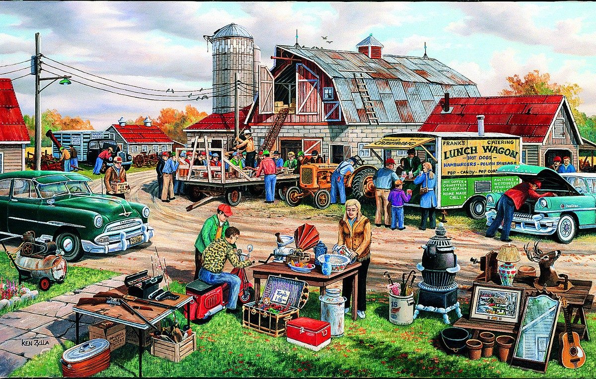 Country Yard Sale - Scratch and Dent Farm Jigsaw Puzzle