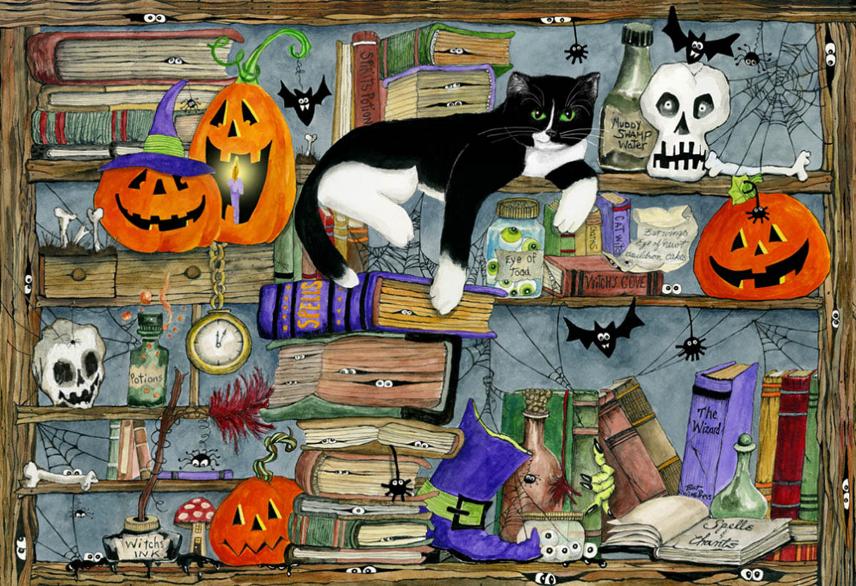 Halloween House Cat Cats Jigsaw Puzzle