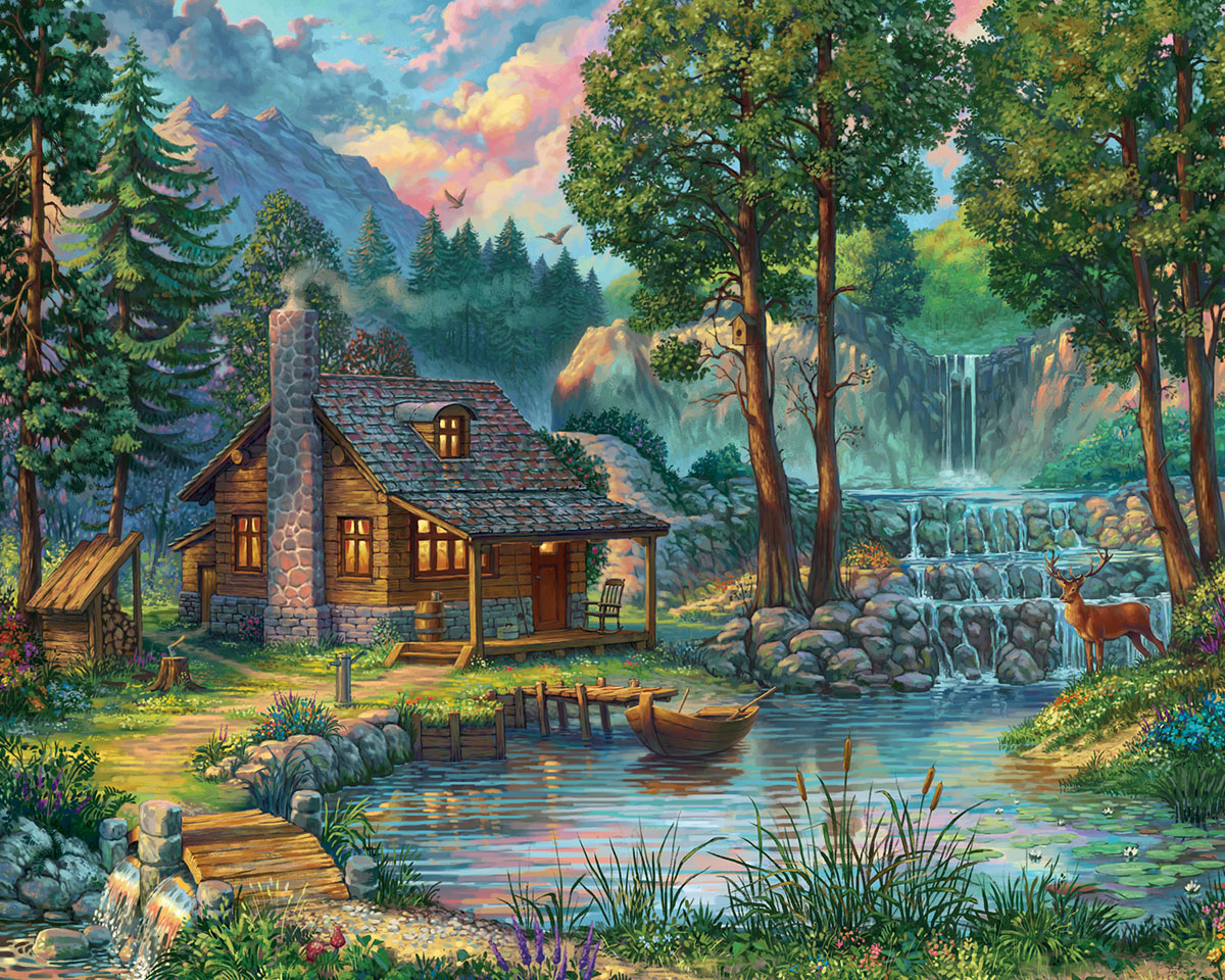 House by the Lake Lakes / Rivers / Streams Jigsaw Puzzle
