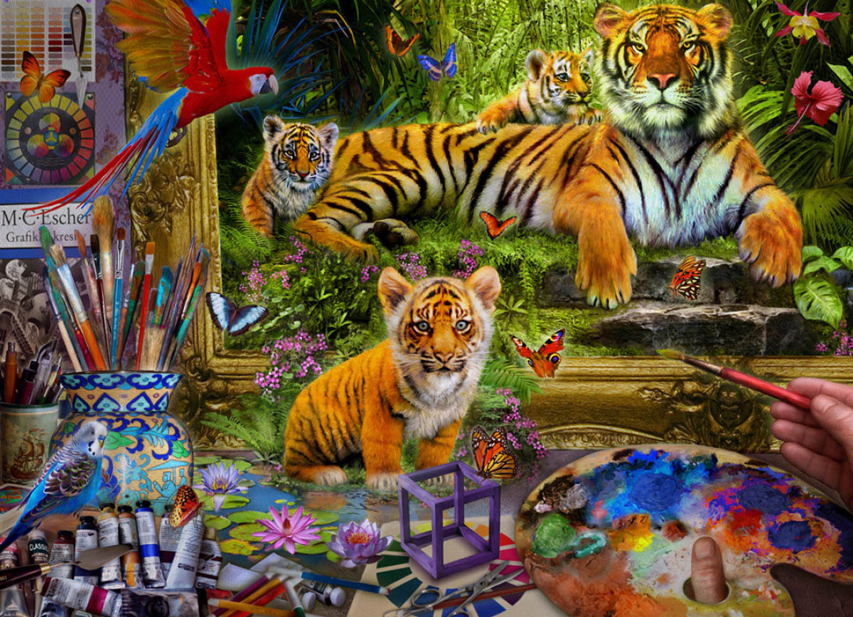 Tiger Painting Contemporary & Modern Art Jigsaw Puzzle