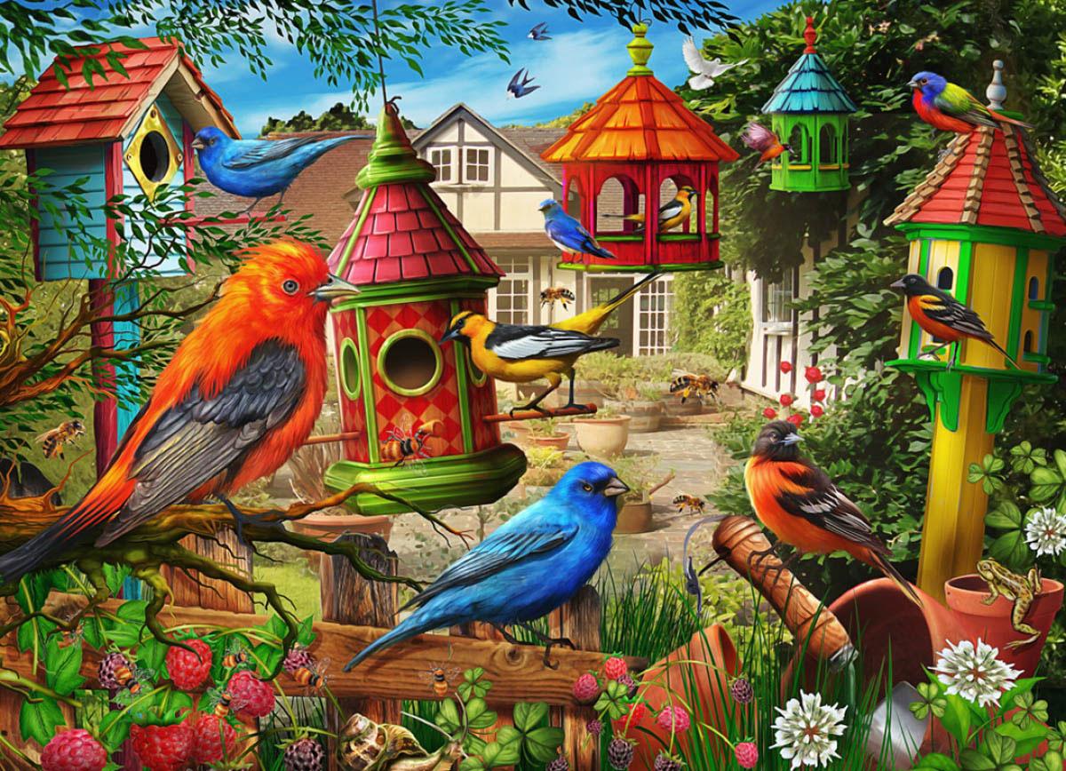 Birdhouse Garden Jigsaw Puzzle Birds Jigsaw Puzzle
