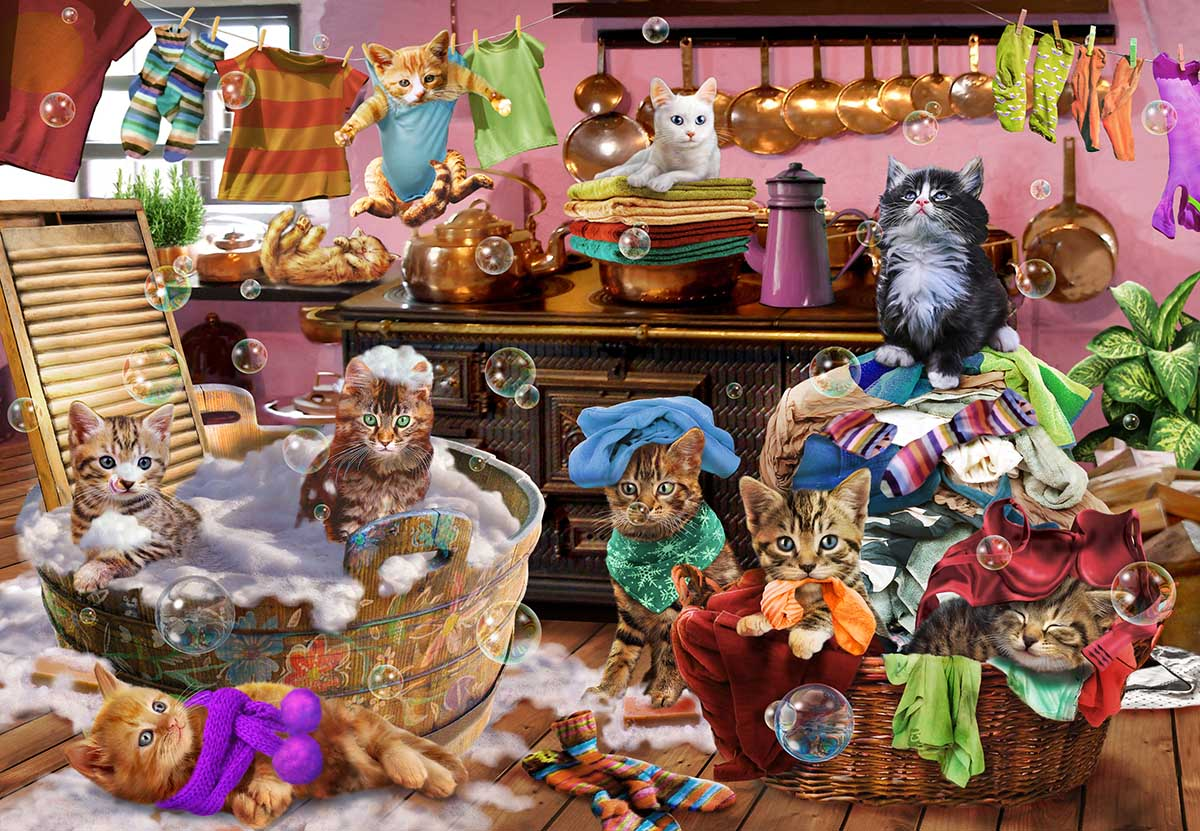Kittens in the Kitchen Cats Jigsaw Puzzle
