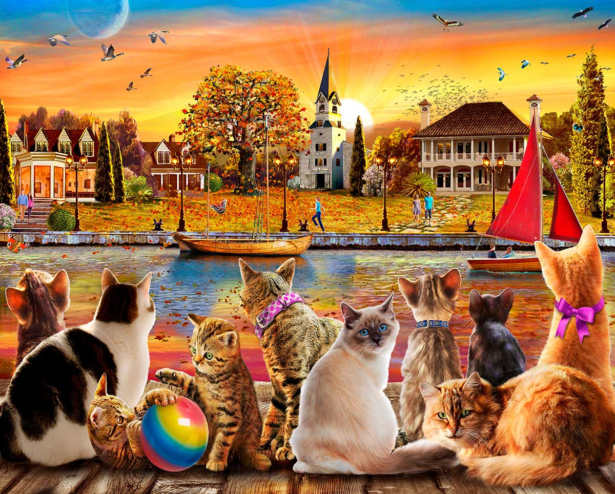Dockside Cats Cats Jigsaw Puzzle