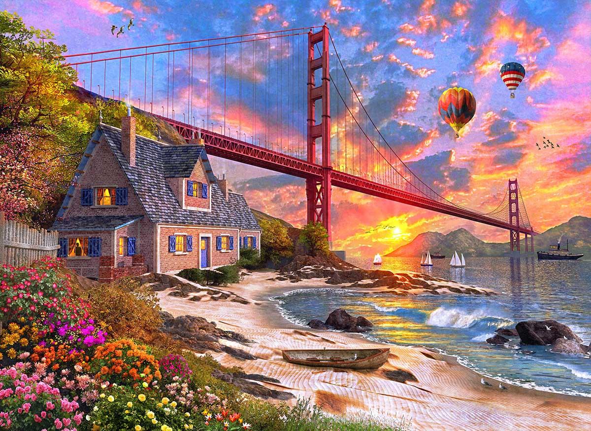 Golden Gate Sunset Landmarks / Monuments Jigsaw Puzzle