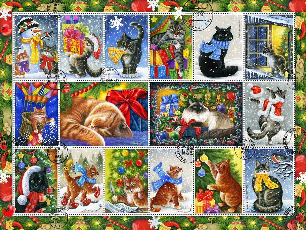 Christmas Cat Stamps Cats Jigsaw Puzzle