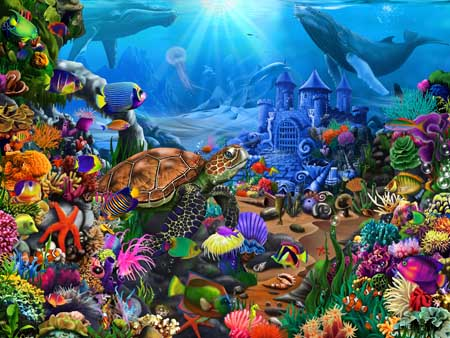 Magical Undersea Turtle Under The Sea Jigsaw Puzzle