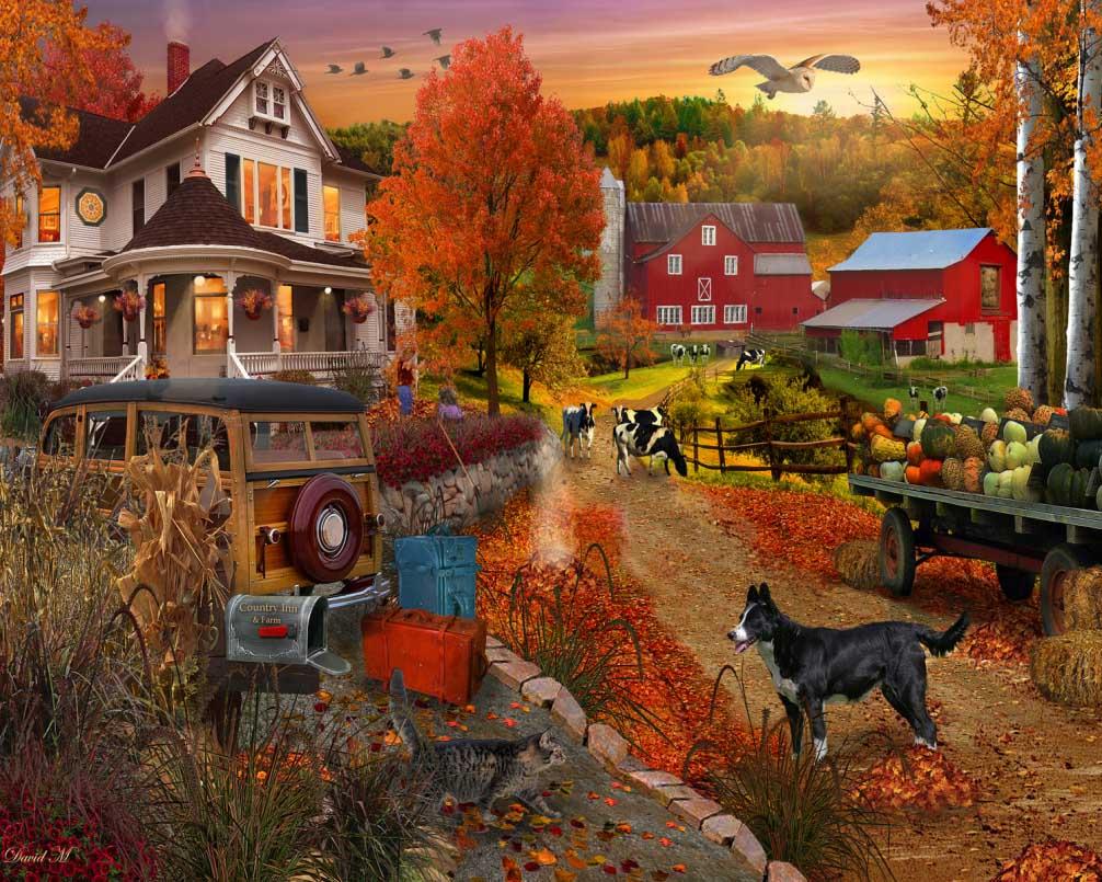 Country Inn & Farm Countryside Jigsaw Puzzle