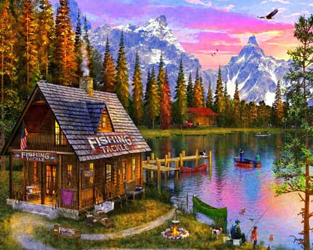 The Fishing Hut Mountains Jigsaw Puzzle