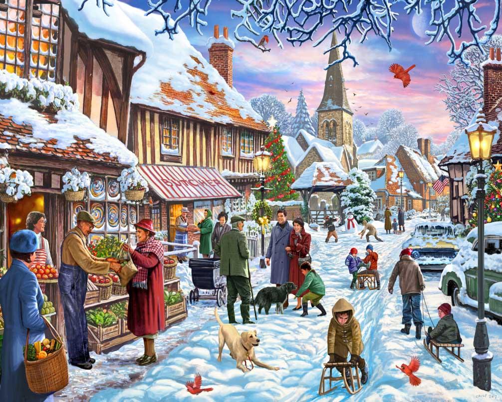 Winter Stroll Street Scene Jigsaw Puzzle
