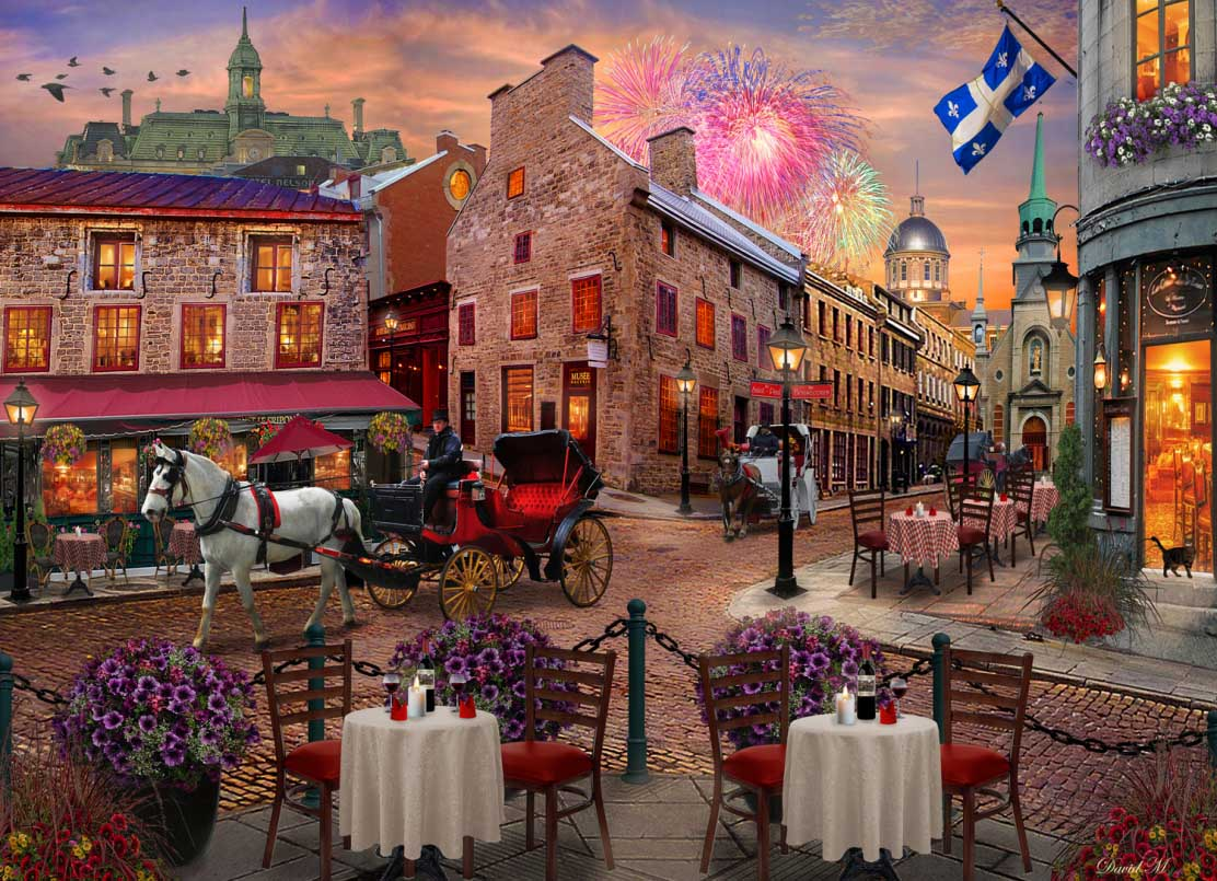 Old Montreal Street Scene Jigsaw Puzzle