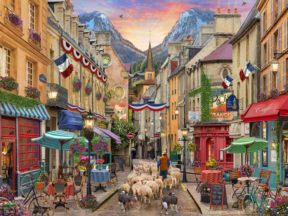French Village Street Scene Jigsaw Puzzle
