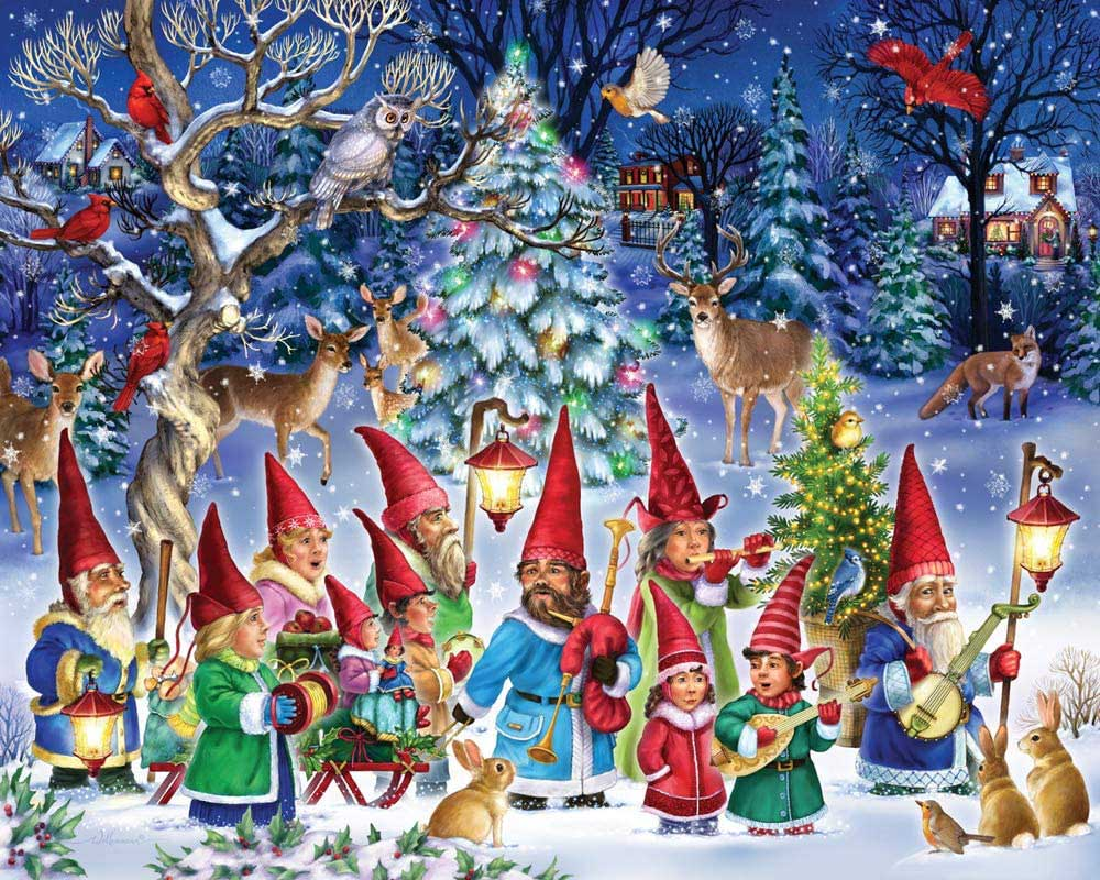 Going Gnome for Christmas Winter Jigsaw Puzzle