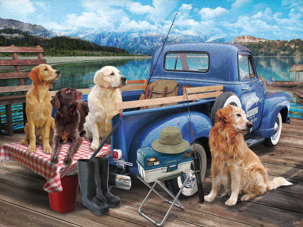 Dogs Gone Fishing Dogs Jigsaw Puzzle