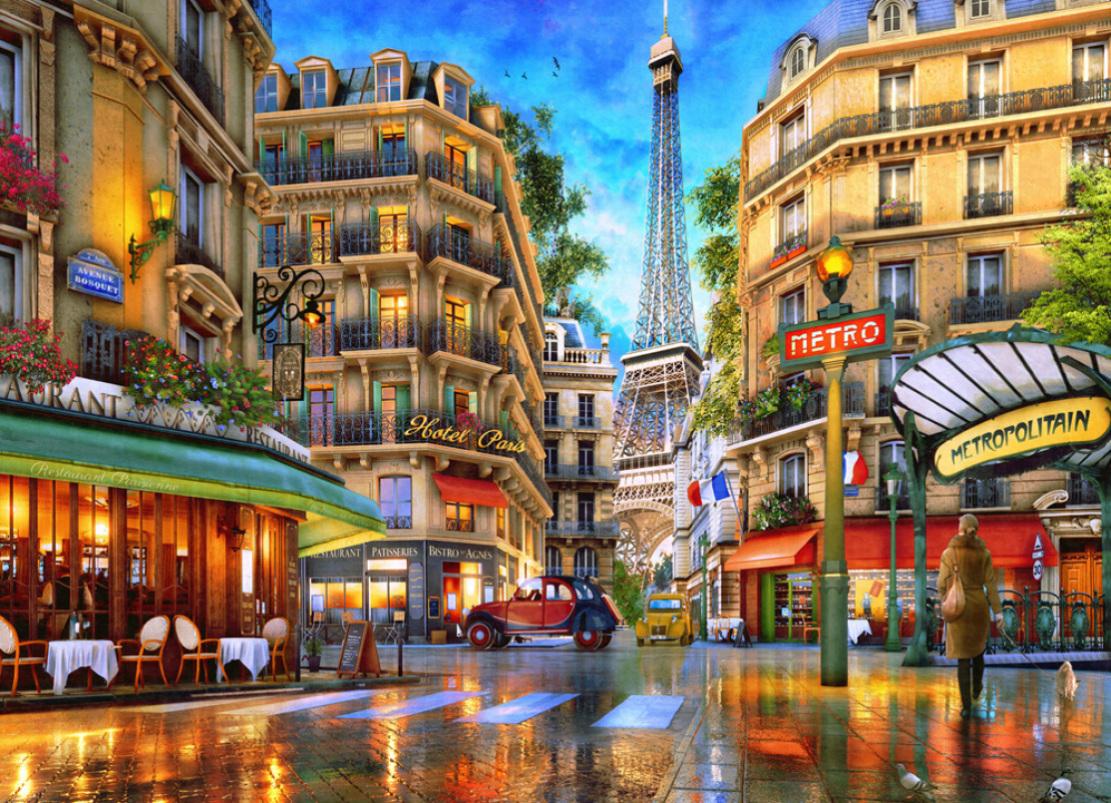 Paris Reflections Street Scene Jigsaw Puzzle