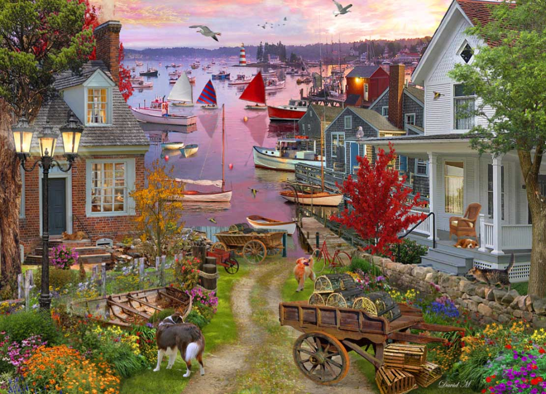 Evening in the Harbor Boats Jigsaw Puzzle