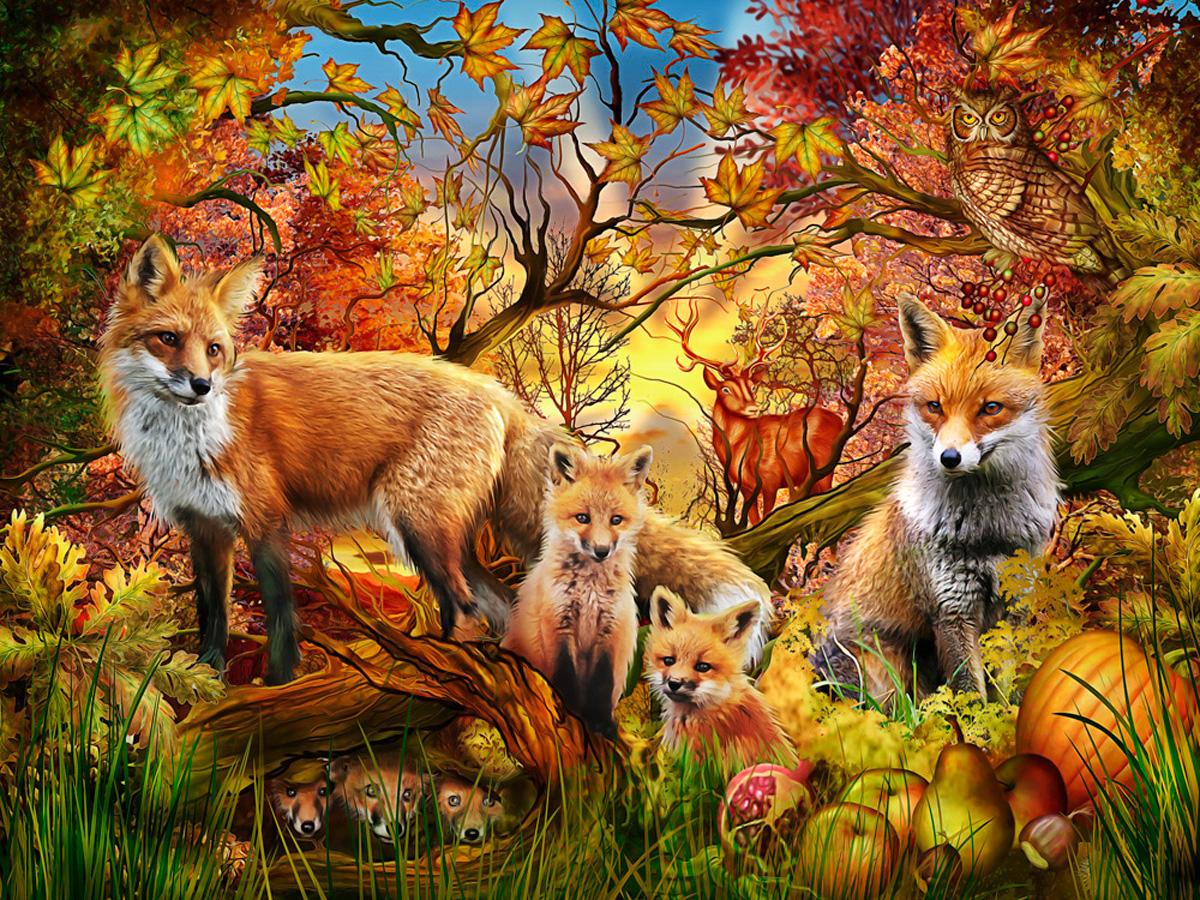 Autumn Foxes Wildlife Jigsaw Puzzle