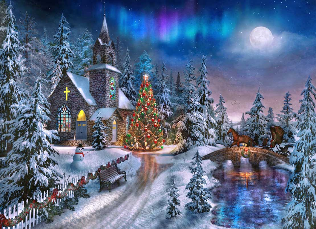 Christmas Night - Scratch and Dent Churches Jigsaw Puzzle