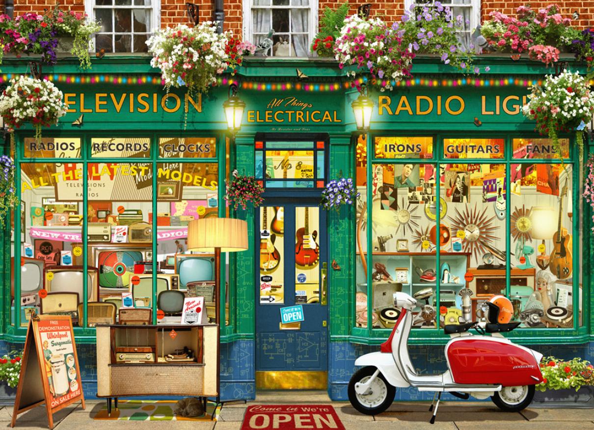 Vintage Shop Street Scene Jigsaw Puzzle