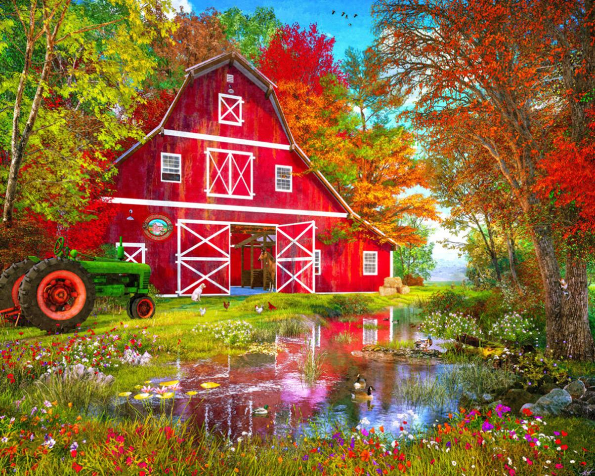 Autumn at the Old Barn Farm Jigsaw Puzzle