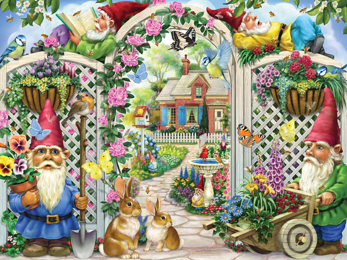 Springing Up Gnomes Flowers Jigsaw Puzzle