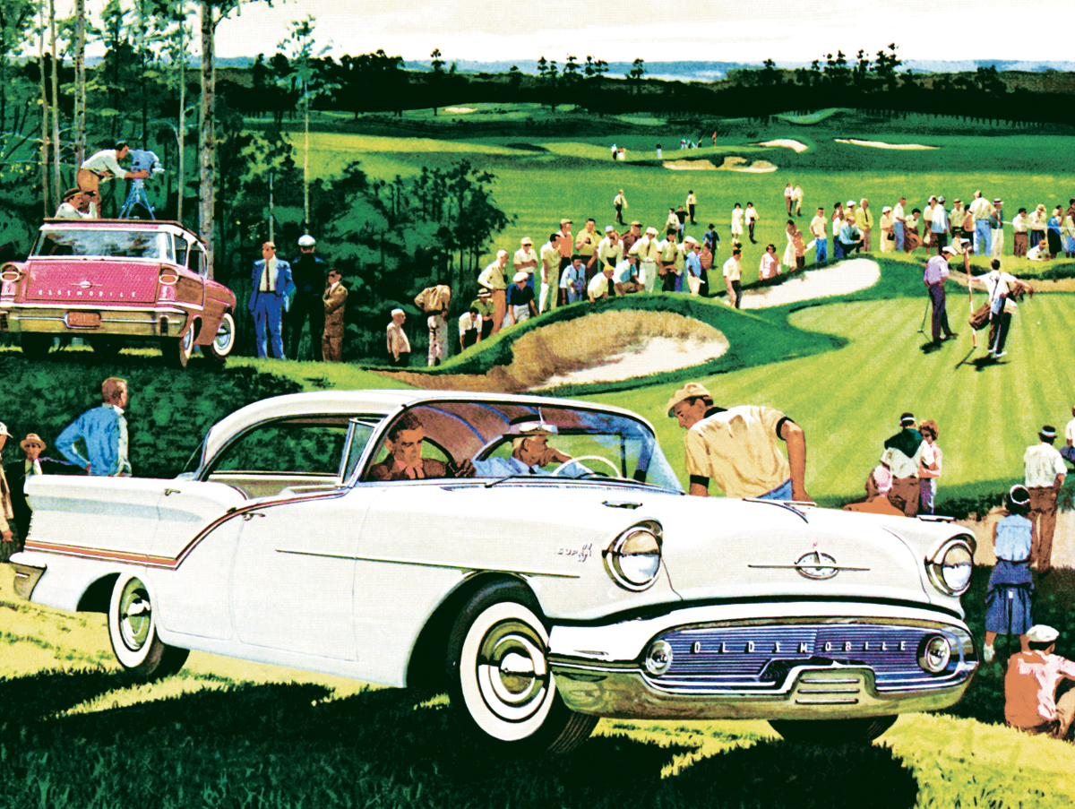 On the Green - 1957 Oldsmobile Super 88 (General Motors) - Scratch and Dent Cars Jigsaw Puzzle