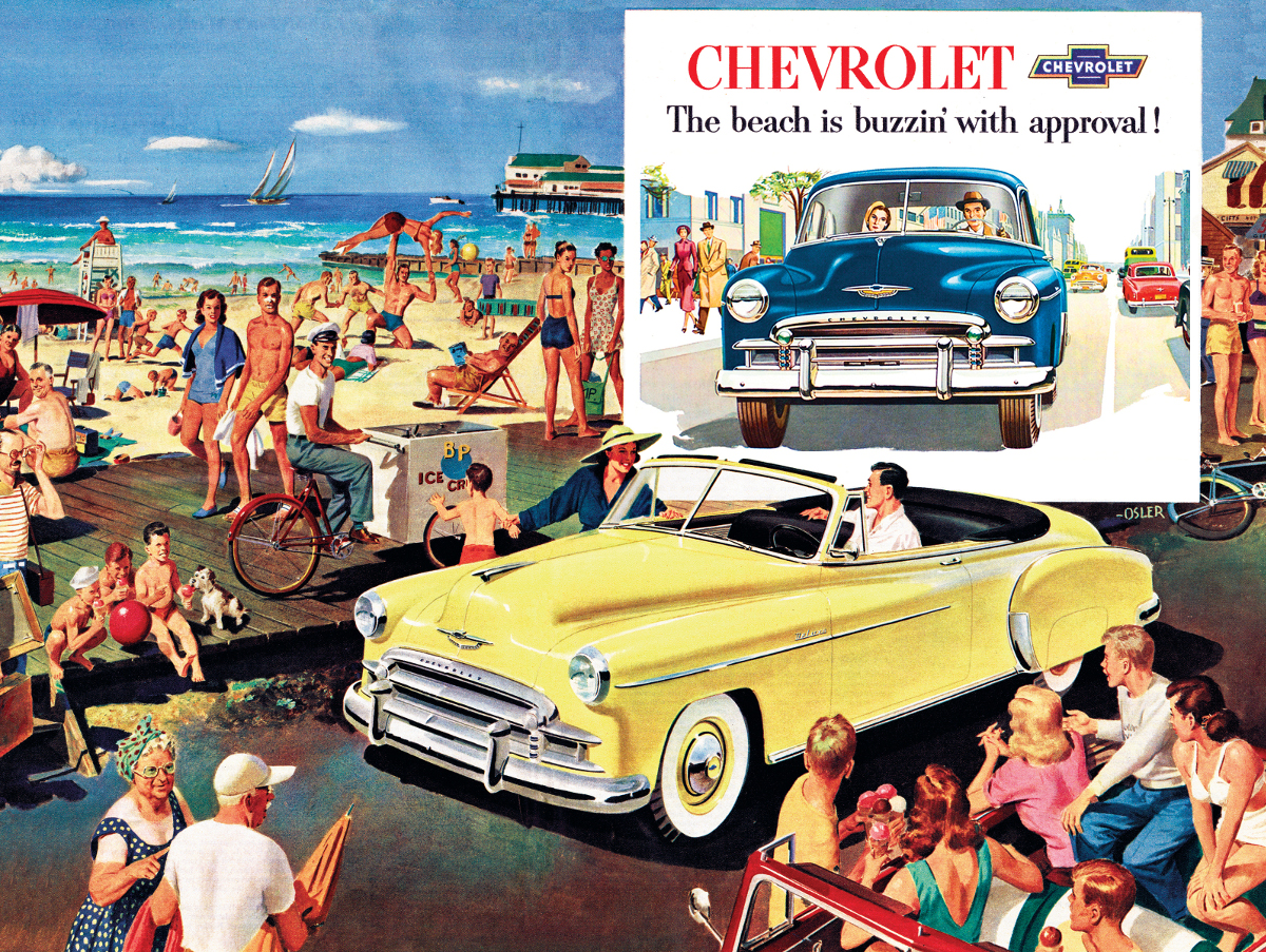 The Beach is Buzzin' - 1950 Chevy Bel Air Convertible Beach Jigsaw Puzzle