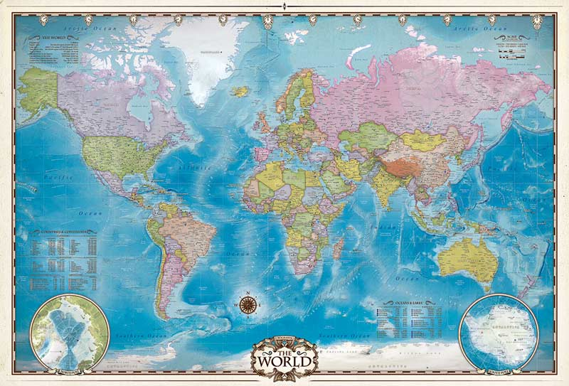 Map of the World with Poles Educational Jigsaw Puzzle