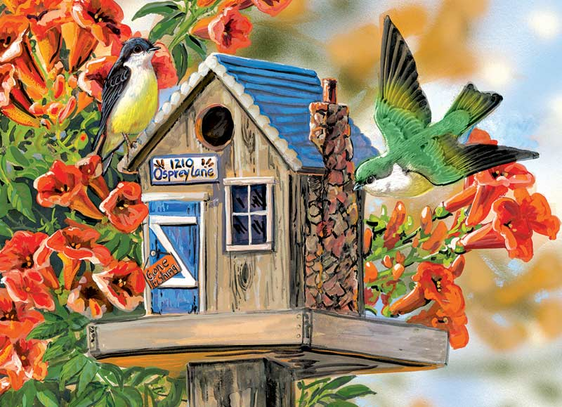 Trumpet Vines & Tree Sparrows - Scratch and Dent Birds Jigsaw Puzzle