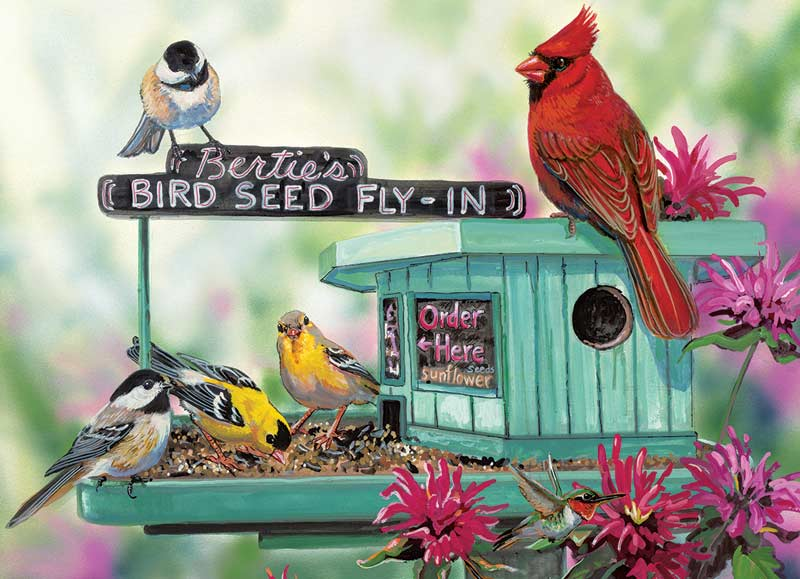 Bertie's Bird Seed Fly-In Birds Jigsaw Puzzle