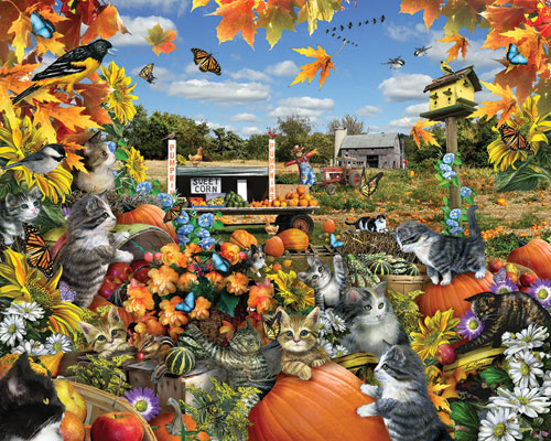 Autumn Kitties Cats Jigsaw Puzzle