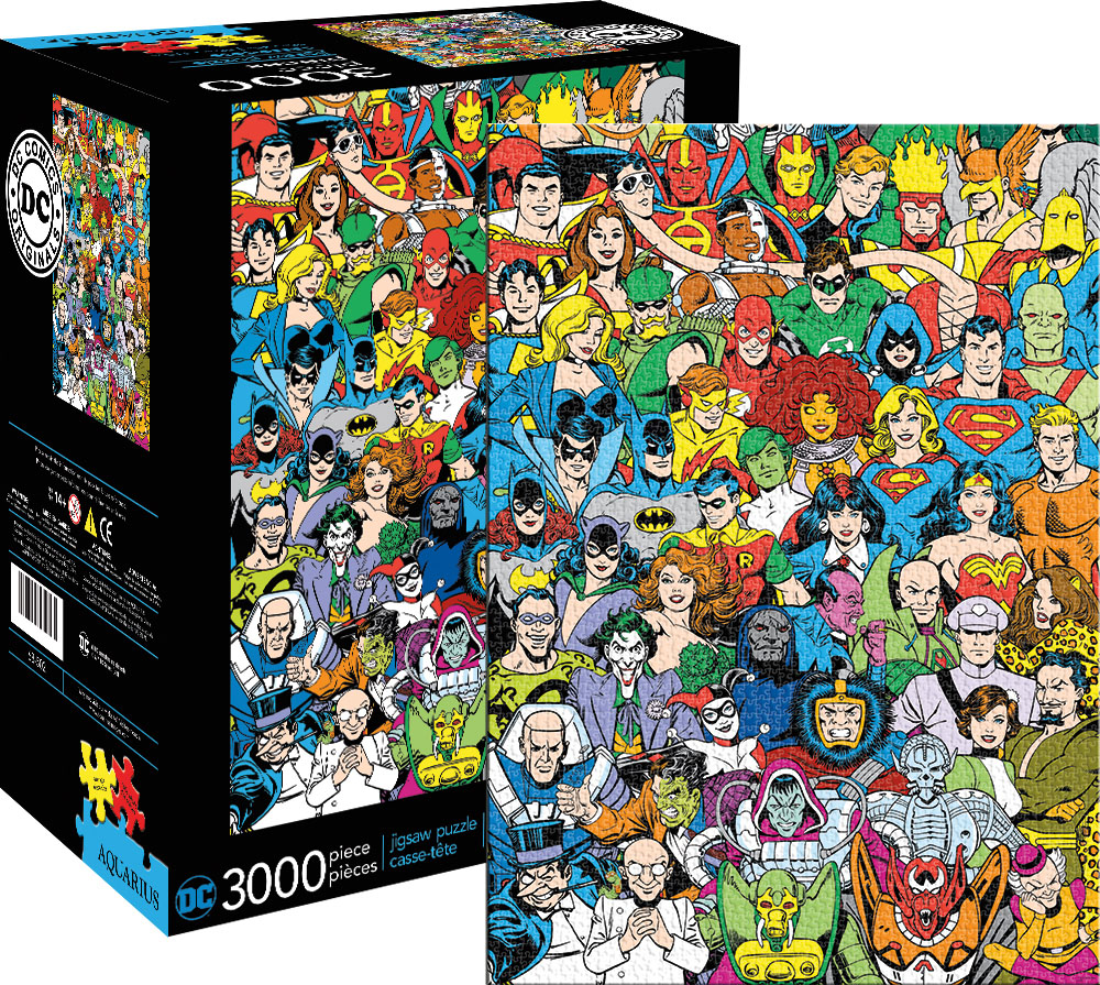 dc comics line up jigsaw puzzle. Black Bedroom Furniture Sets. Home Design Ideas