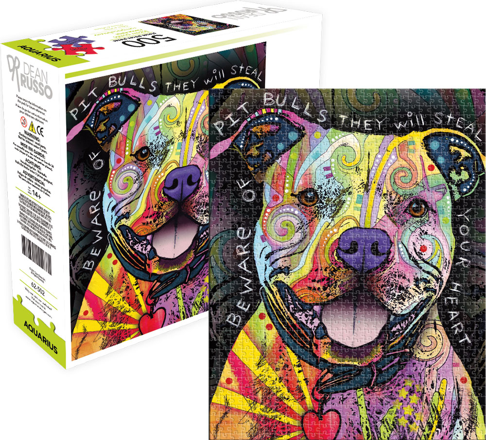 Beware Pit Bull - Scratch and Dent Dogs Jigsaw Puzzle