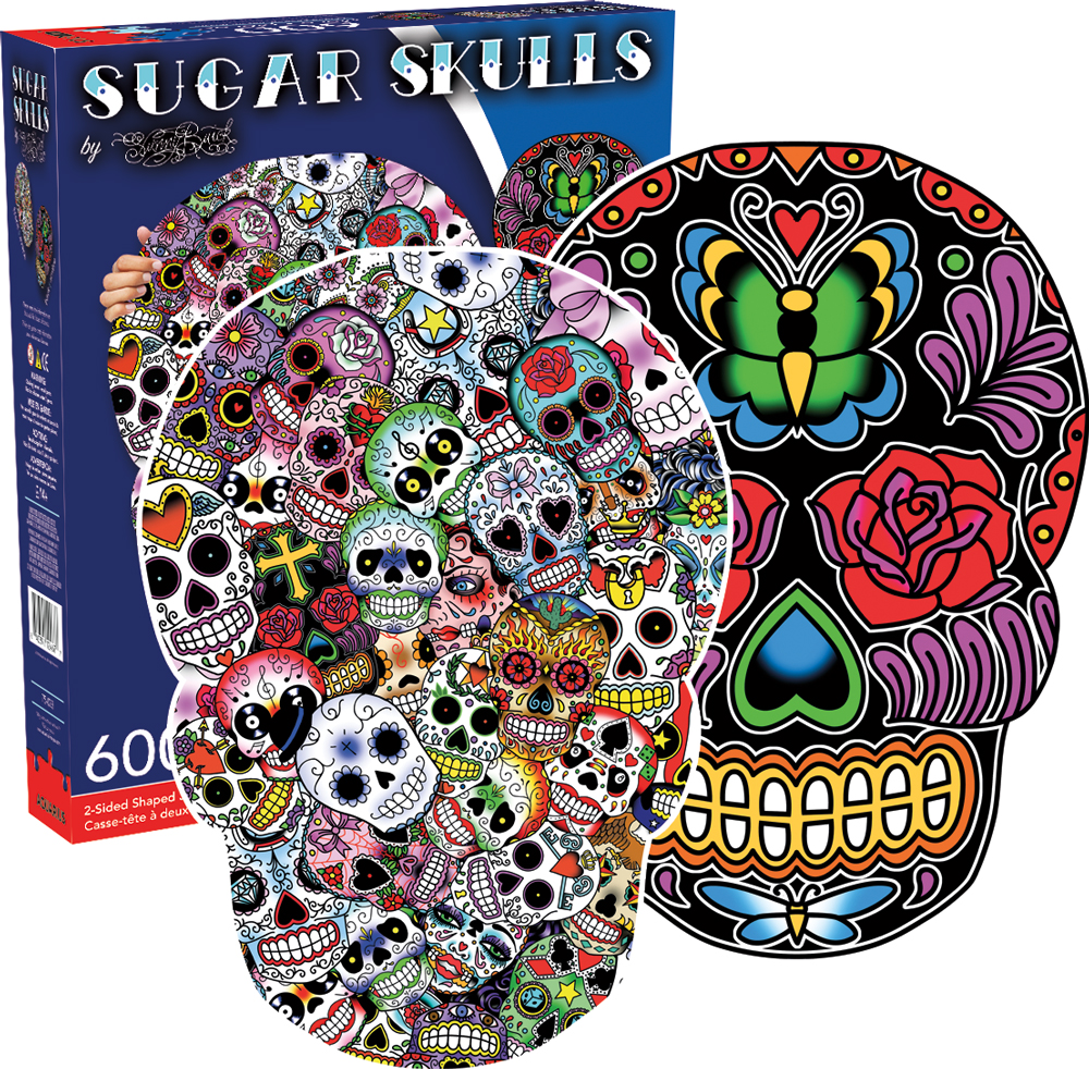 Sugar Skulls Day of the Dead Shaped Puzzle
