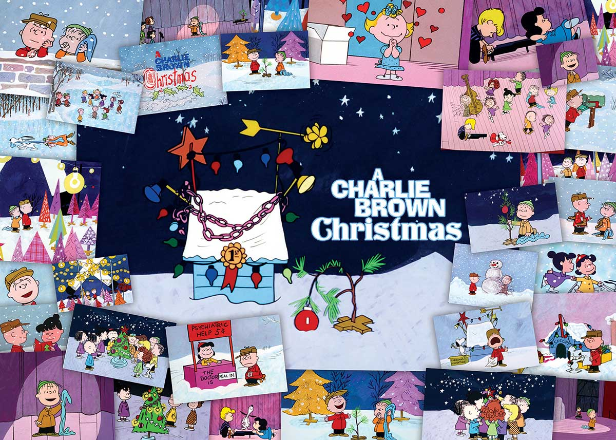 Peanuts Charlie Brown Collage Christmas Cartoons Jigsaw Puzzle