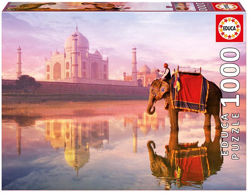 Elephant At Taj Mahal Landmarks / Monuments Jigsaw Puzzle