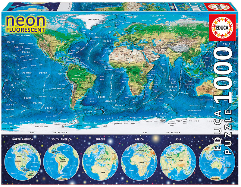 Neon world map jigsaw puzzle puzzlewarehouse neon world map maps geography jigsaw puzzle gumiabroncs Gallery