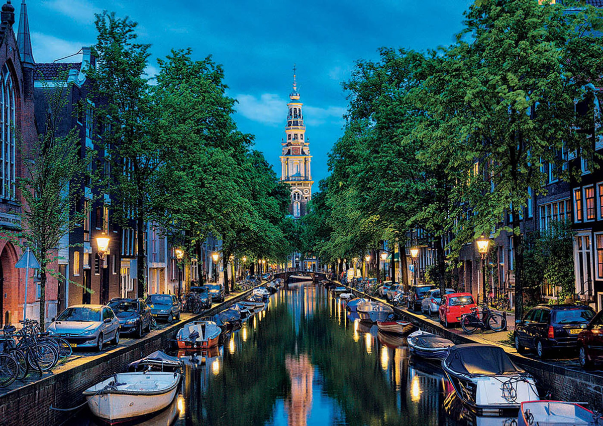 Amsterdam Canal At Dusk - Scratch and Dent Landmarks / Monuments Jigsaw Puzzle