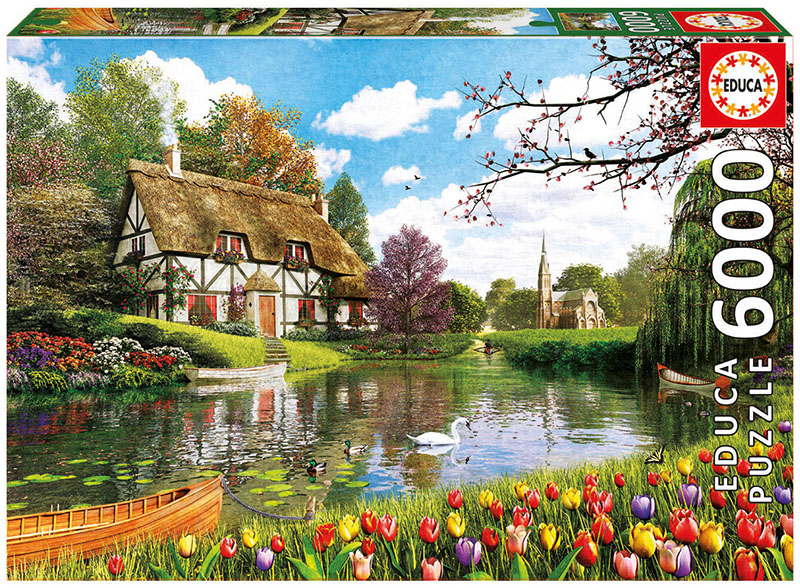 Lakeside Cottage Flowers Jigsaw Puzzle
