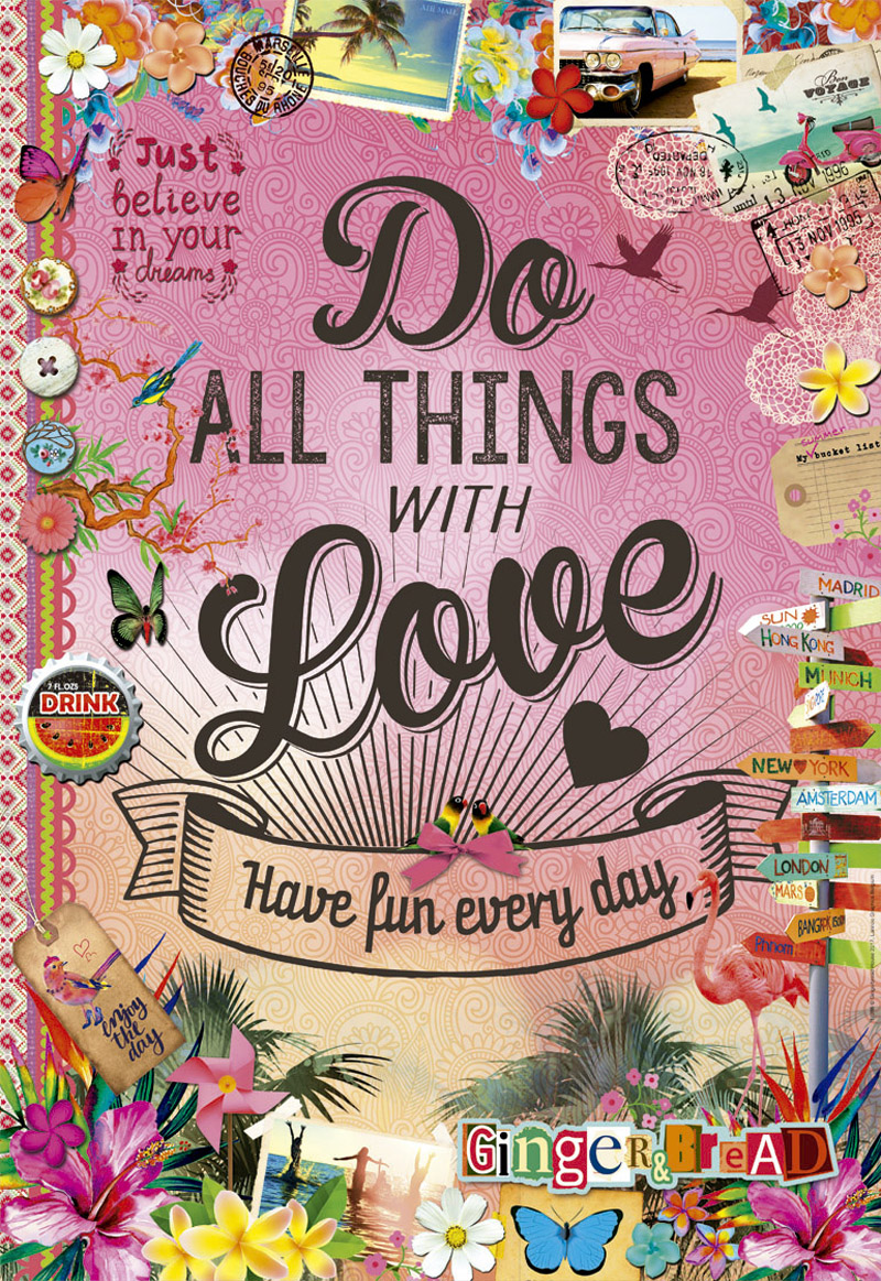Do All Things With Love - Scratch and Dent Collage Jigsaw Puzzle