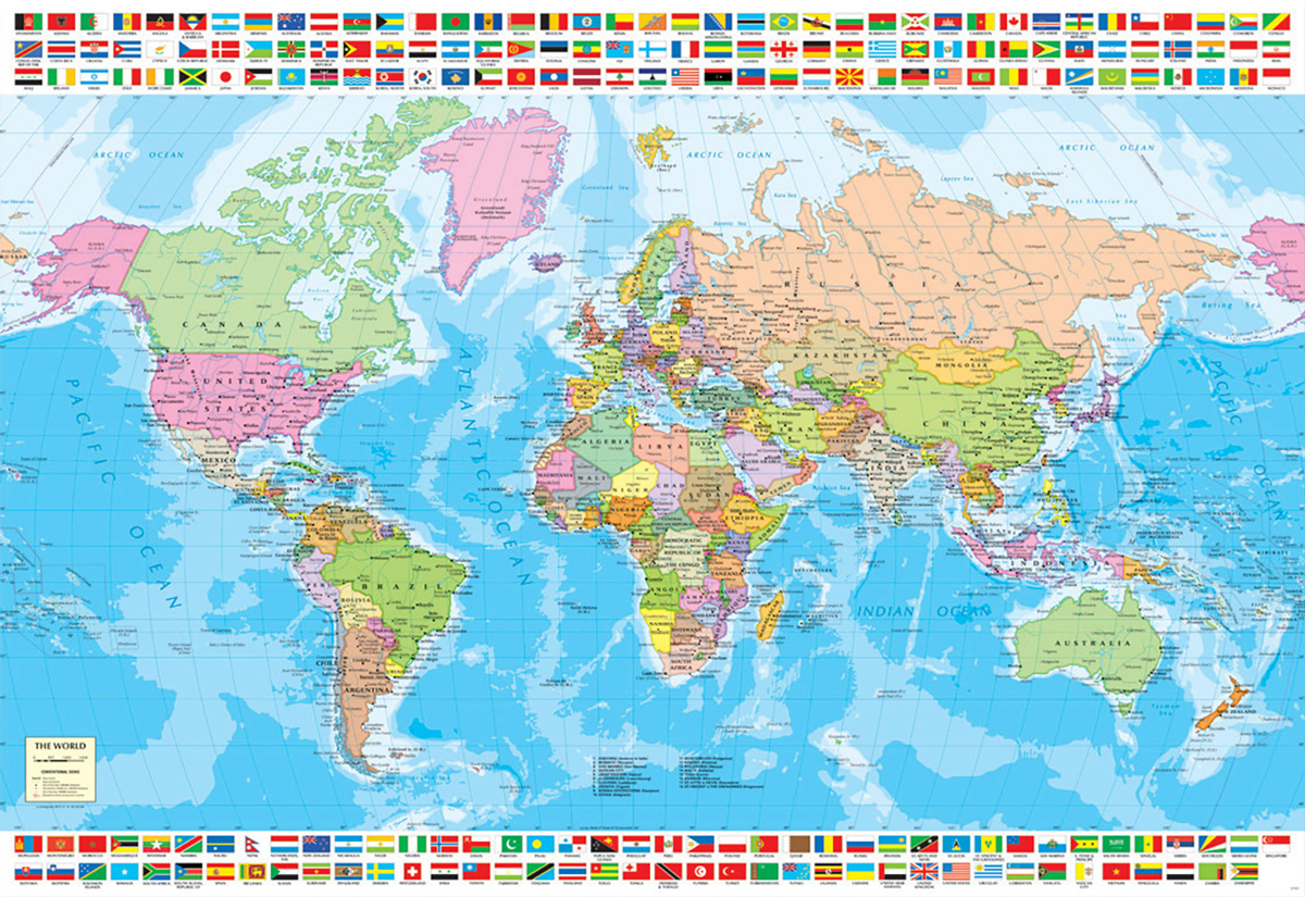 Political World Map Educational Jigsaw Puzzle