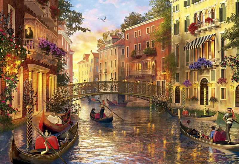 Sunset In Venice Italy Jigsaw Puzzle