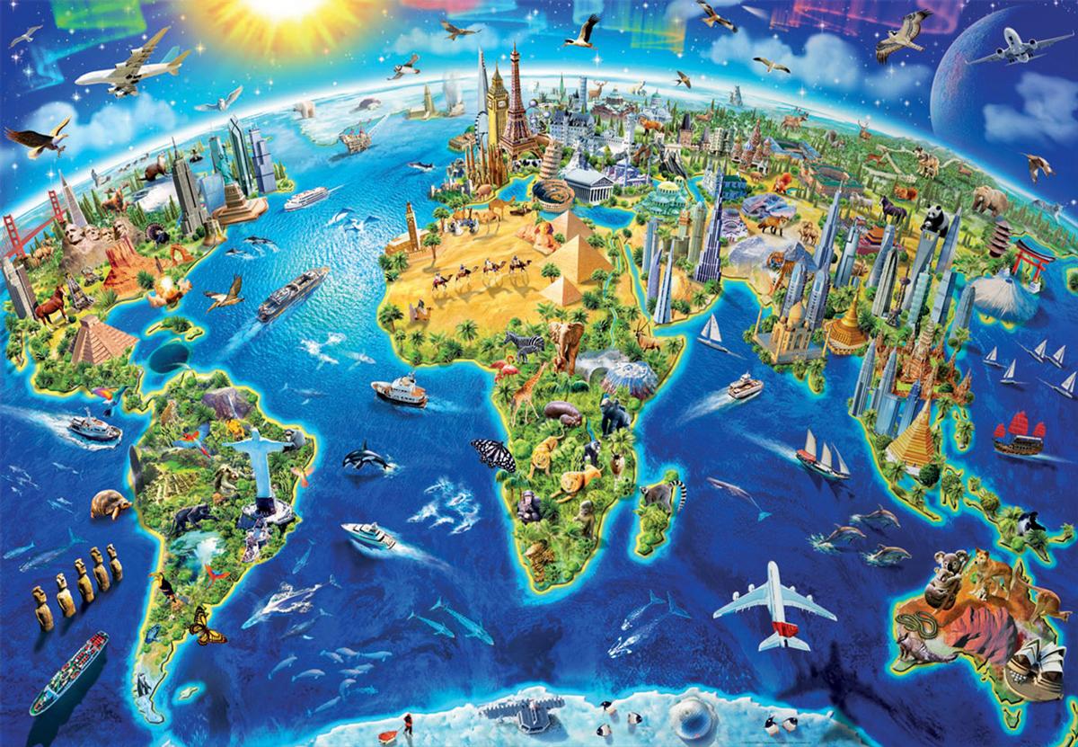 World Landmarks Globe Landmarks / Monuments Jigsaw Puzzle