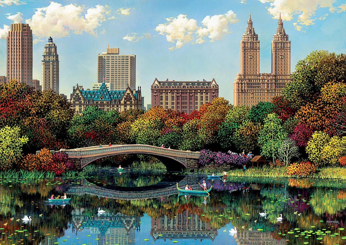 Central Park Bow Bridge Skyline / Cityscape Jigsaw Puzzle