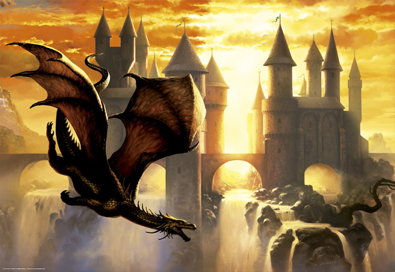 Sunset Dragon Castles Jigsaw Puzzle