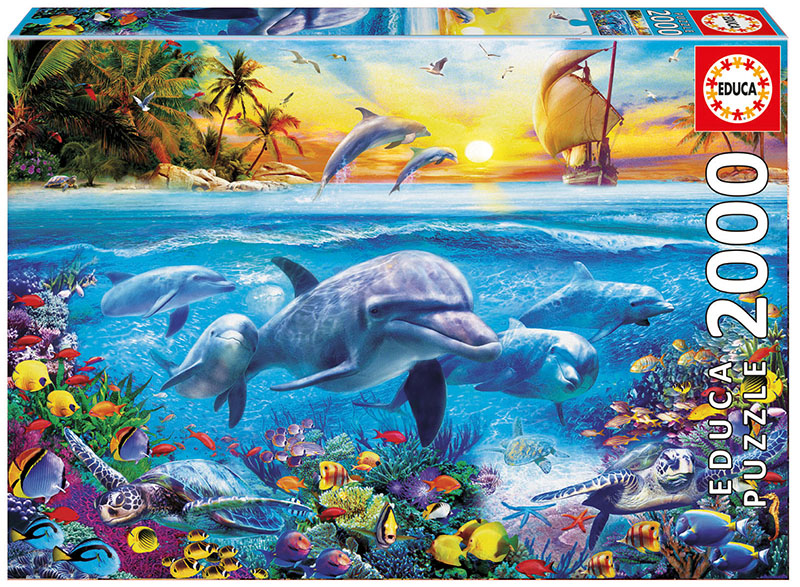 Family of Dolphins Under The Sea Jigsaw Puzzle