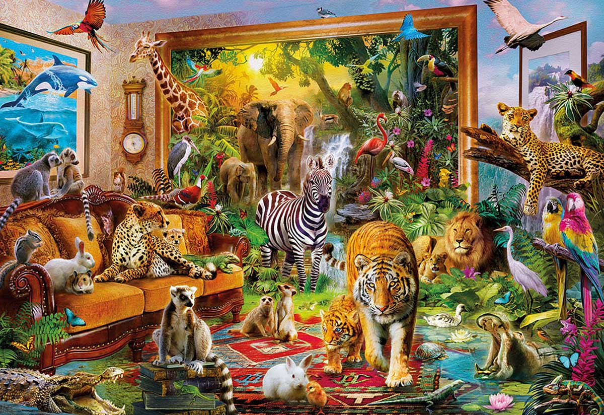 Entering the Bedroom Jungle Animals Jigsaw Puzzle