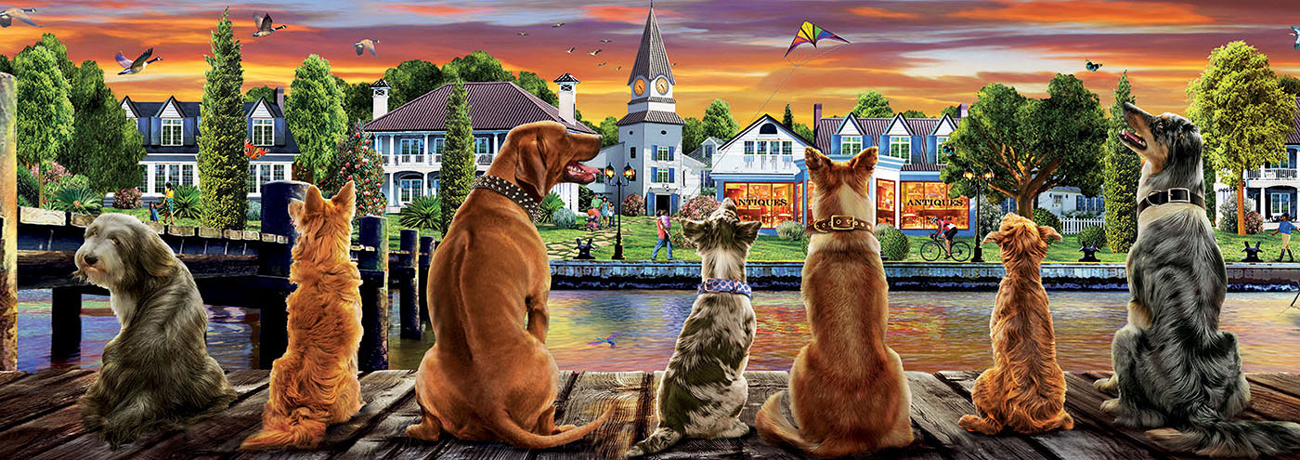 Dogs on Quay Animals Jigsaw Puzzle