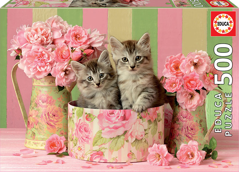 Kittens With Roses Cats Jigsaw Puzzle