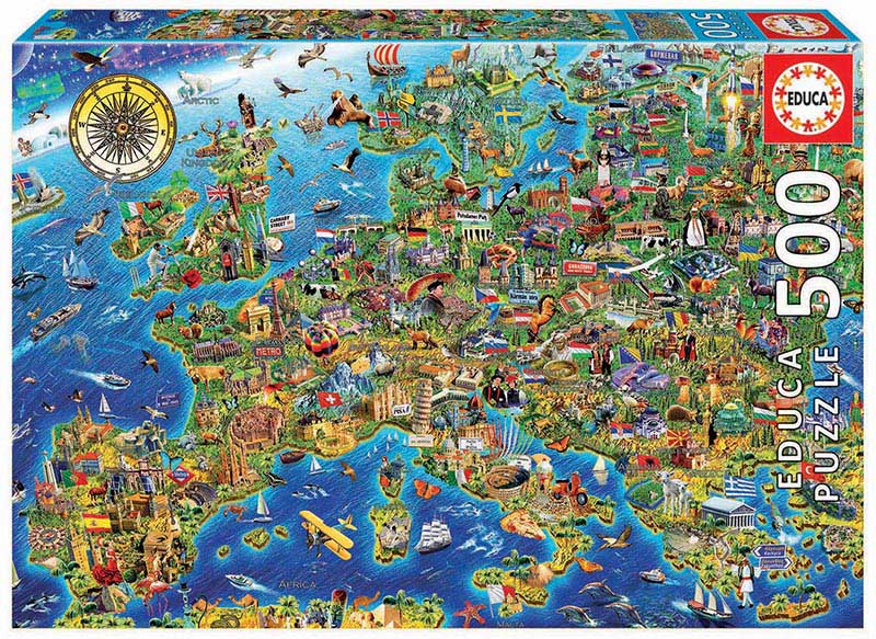 Crazy European Map - Scratch and Dent Maps / Geography Jigsaw Puzzle